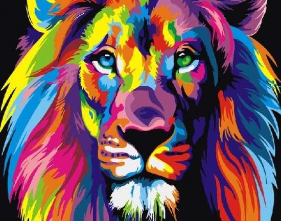 Картина по номерам 40x50 Радужный лев