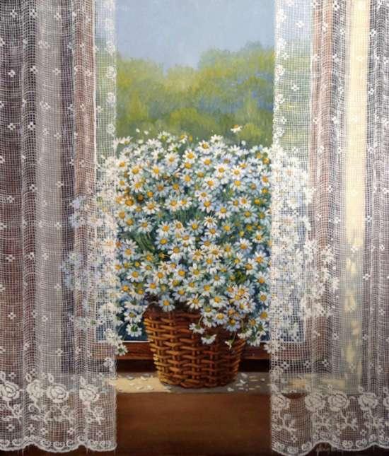 Картина по номерам 40x50 Ромашки за шторами