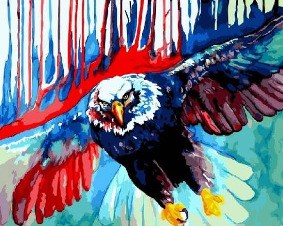 Картина по номерам 40x50 Яркокрасочный  орел