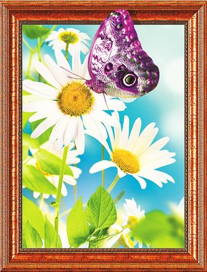 Алмазная мозаика 3D 40x50 Фиолетовая бабочка на ромашках