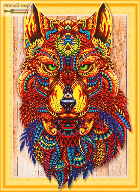 Алмазная мозаика 5D 40x50 Мудрый взгляд волка