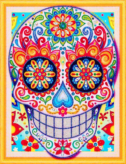 Алмазная мозаика 5D 40x50 Веселый череп с цветочками