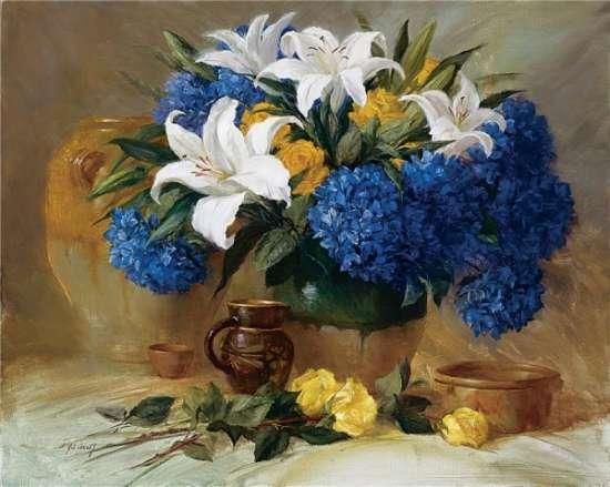 Картина по номерам 40x50 Гортензия, лилии и розы