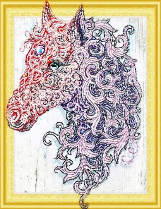 Алмазная мозаика 5D 40x50 Розовая кудрявая лошадь
