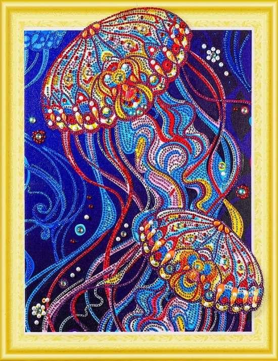 Алмазная мозаика 5D 40x50 Цветные медузы