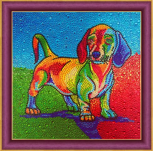 Алмазная мозаика 30x30 Разноцветная такса