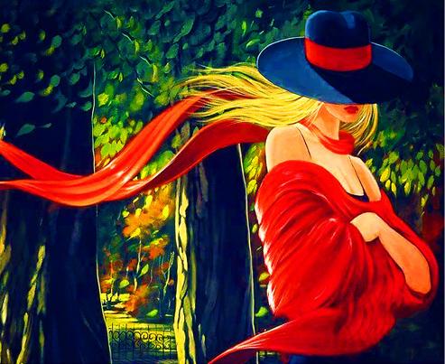 Алмазная мозаика 40x50 Блондинка в шляпе прогуливается по парку