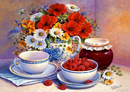 Картина по номерам 40x50 Утренний чай с малиной и вареньем