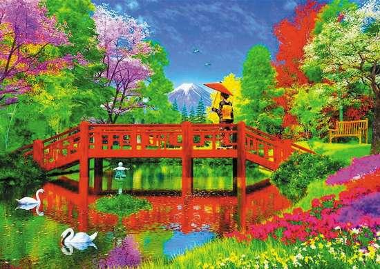 Алмазная мозаика 30x40 Девушка на мостике у озера с лебедями