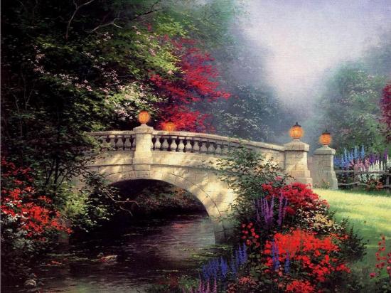 Картина по номерам 40x50 Каменный мост в лес